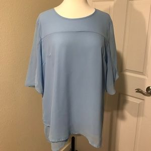Unique Sheer Blue Layered Blouse